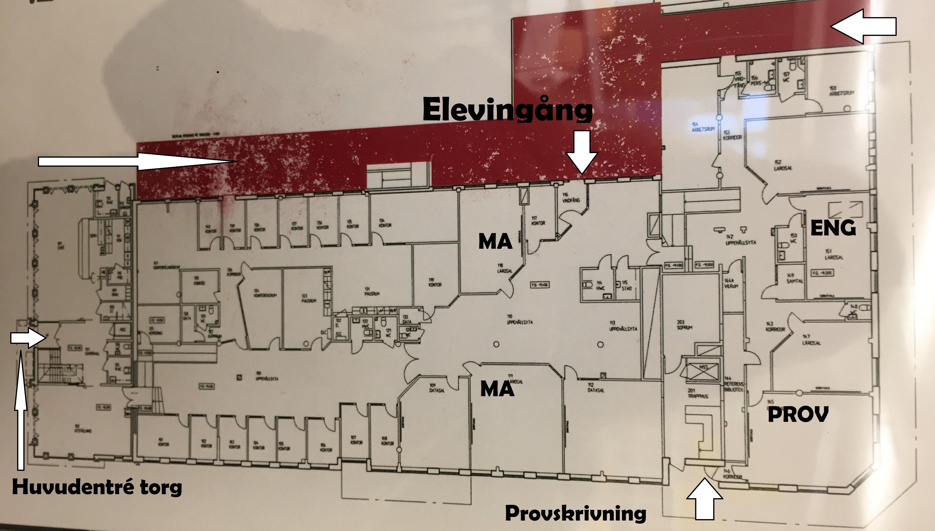 Karta över Lärcentrums lokaler